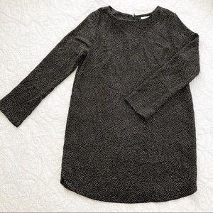 H&M Grey White Dot Long Sleeve Shift Dress